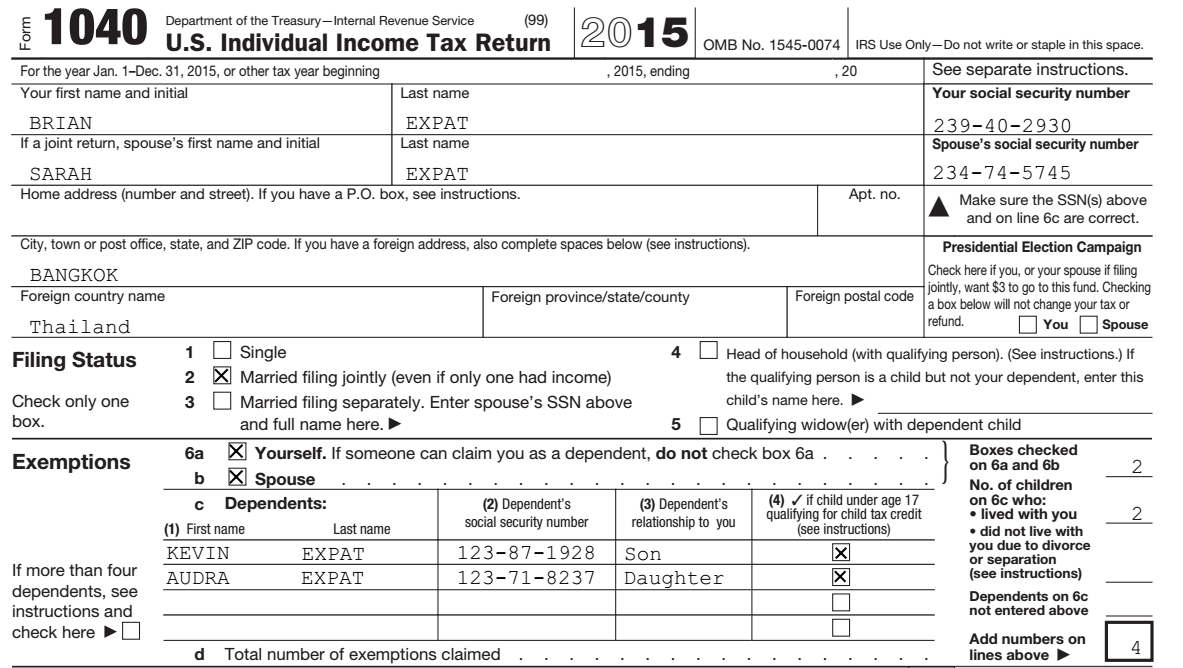 Form 1040 Info Expat Taxes